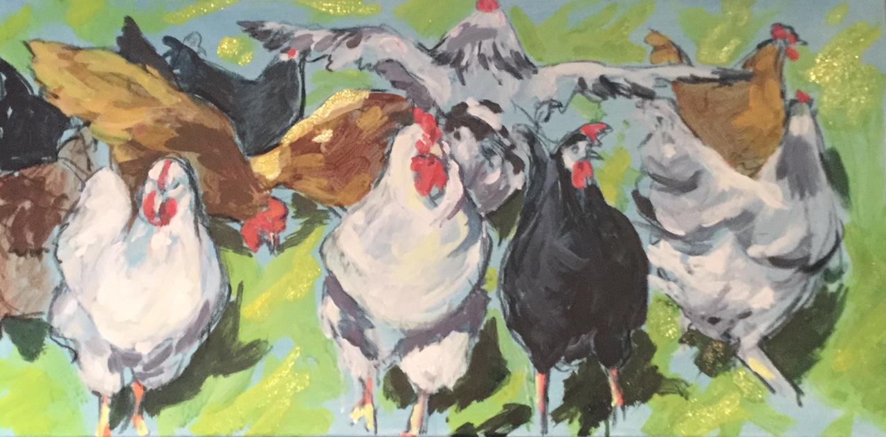 Free-range chickens, Mixed media. £325
