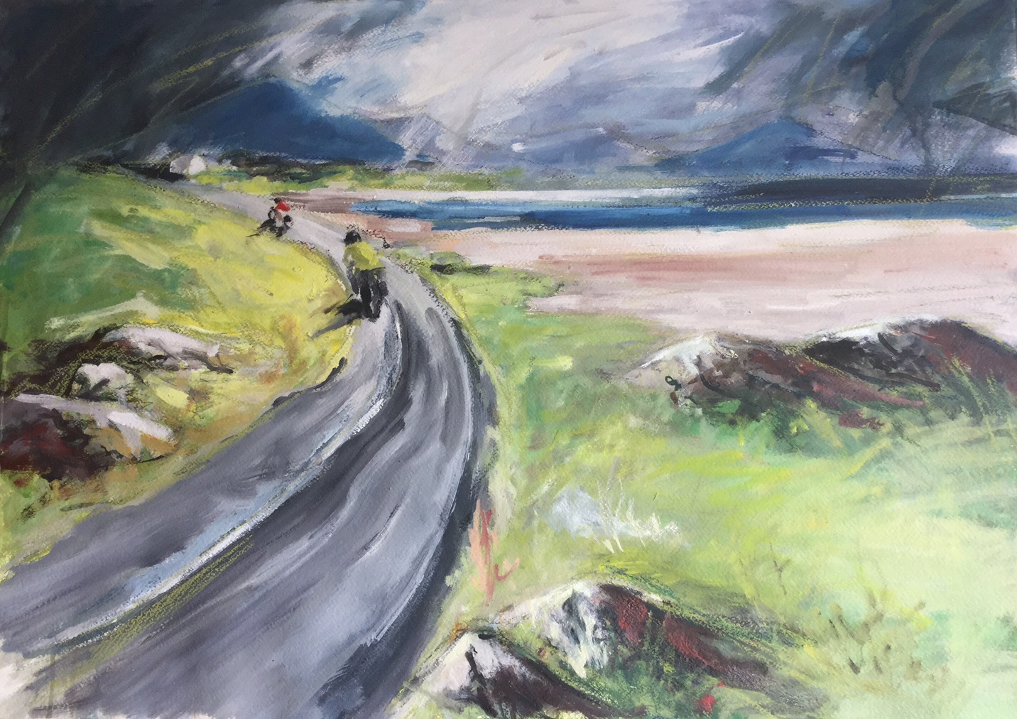 Cycling in Ireland, Mixed media. Sold