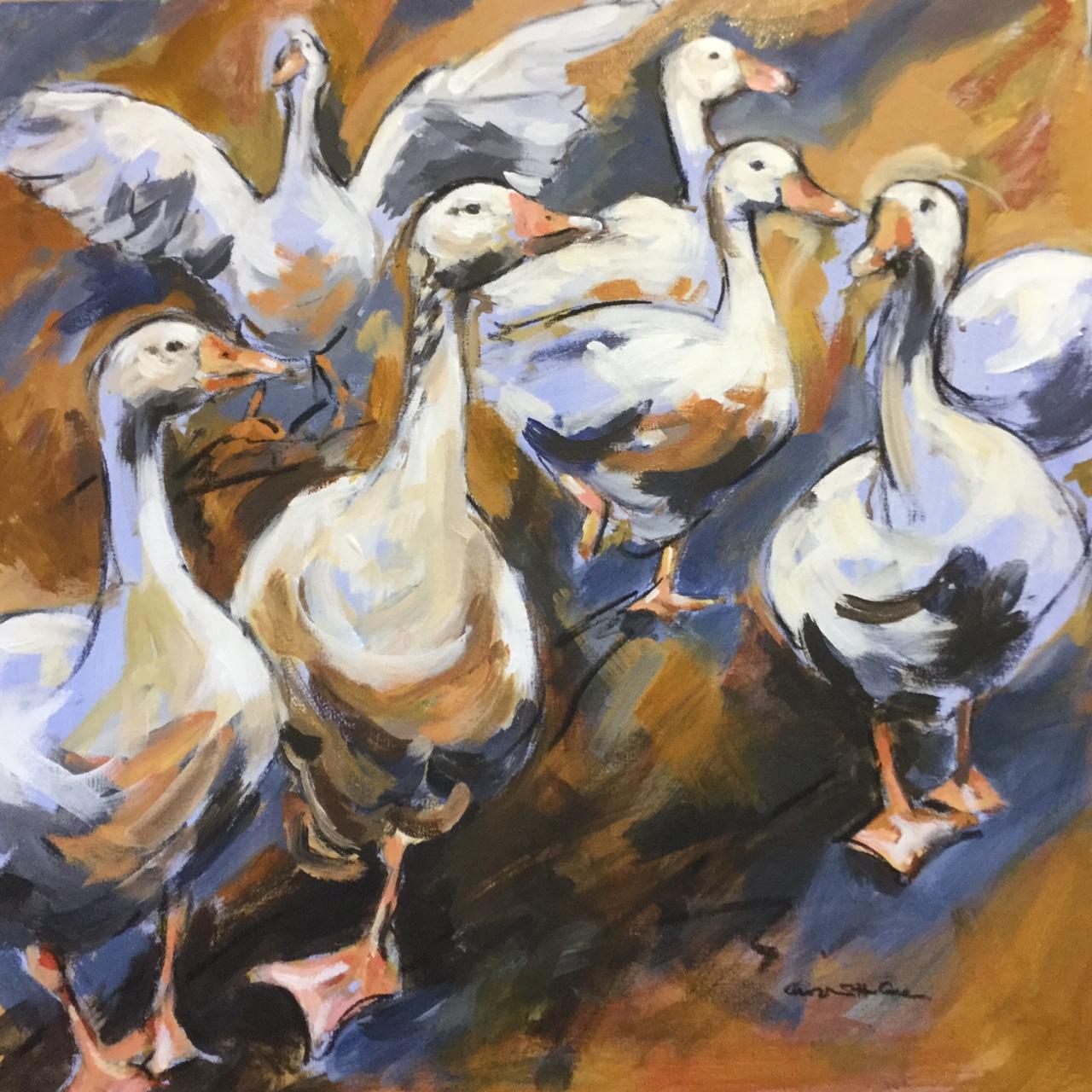 Geese a gandering. Acrylic. £350