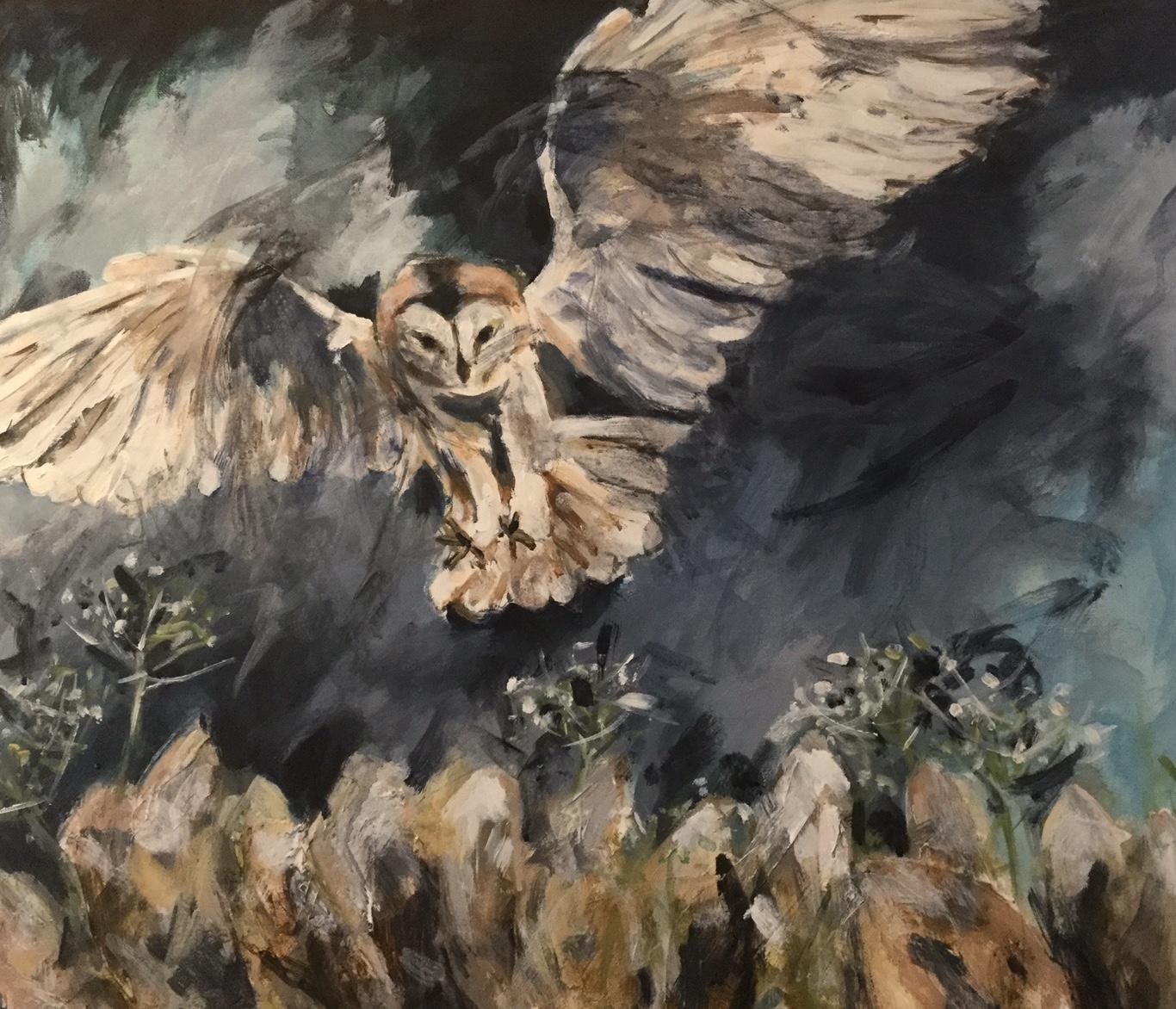 Barn owl in flight. Acrylic. Sold