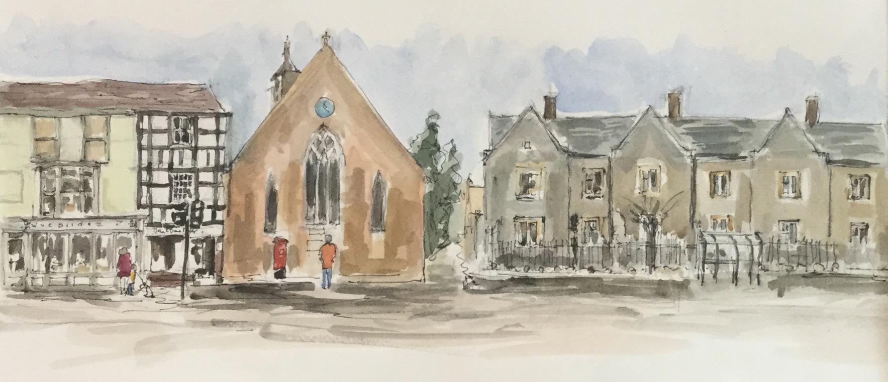 Ledbury High Street and Almshouses. Available as a card