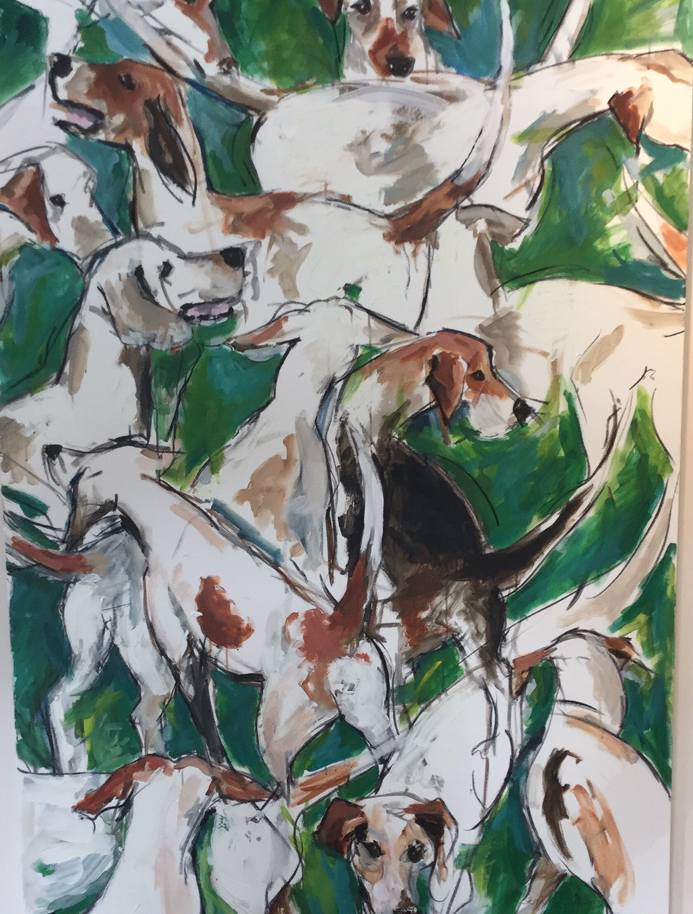 Hounds frenzy. Oil. Sold