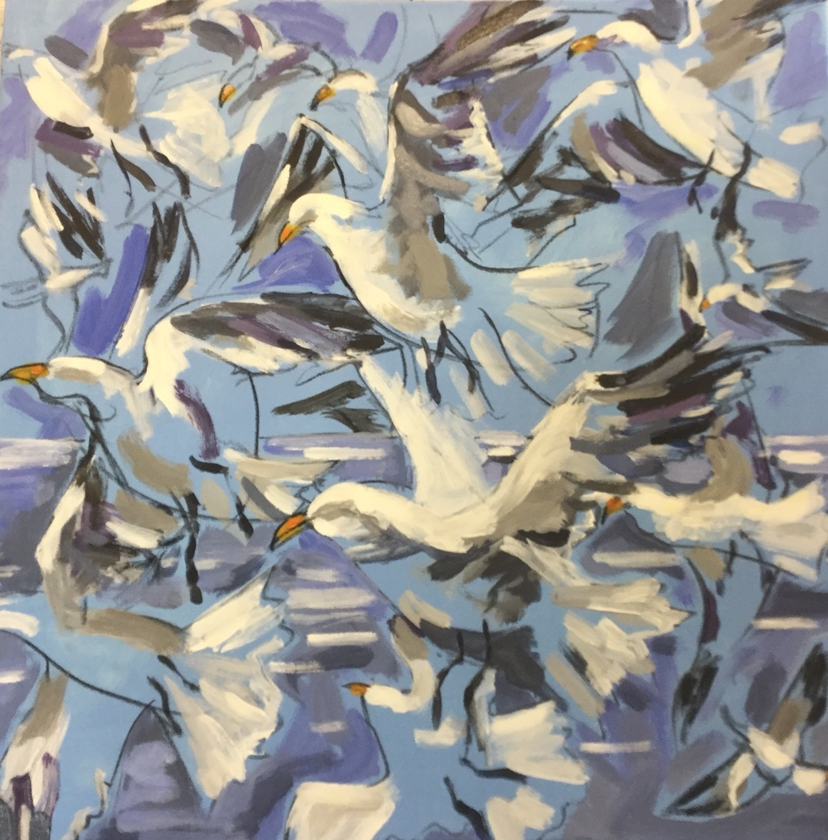 Gulls in flight. Acrylic. Sold.