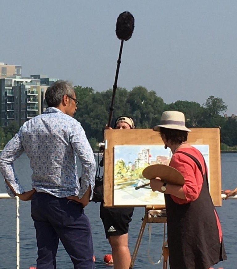 Me filmed chatting to Tai-Shan Schierenberg as I paint the lake and its surroundings